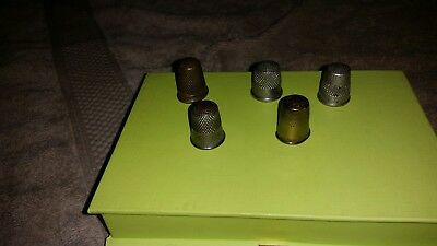 Vintage Lot of FIVE (5) Silver Plated & Brass Sewing Thimbles VERY OLD