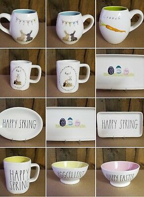 Rae Dunn HAPPY EASTER SPRING HOP EXCELLENT Mug, Bowl, Oval *Combined Ship