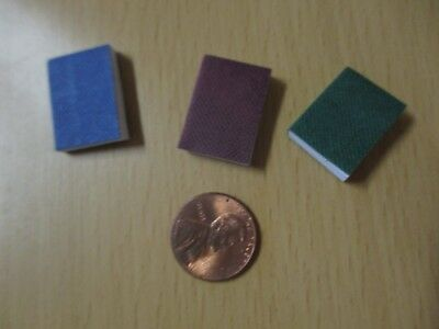 Dollhouse books, miniature set, green, blue, red, 1 inch, blank white pages