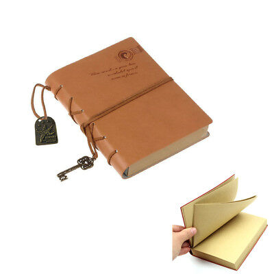 Vintage PU Leather Cover Notebook Blank Journal Diary Sketchbook Travel Notepad