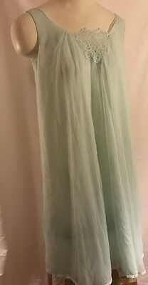 Vintage Sears Charmode Nightgown  Mint Green Nylon Lace Negligee Sz Small 32/34