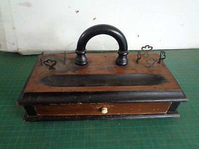 Vintage wooden desk tidy with drawer, pen holder and ink holders