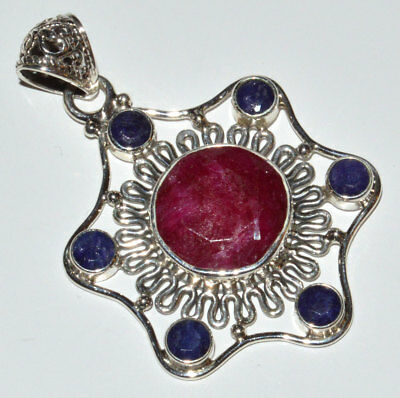 Indian Ruby, Sapphire 925 Sterling Silver Pendant Jewelry JJ11145