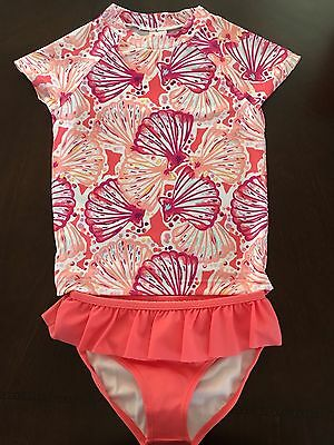 NWT Gymboree Girl Swim Shop Magenta Seashell Rash Guard Swim Set 5 6 7 8 10 12