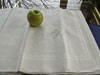 "Vintage Unused Irish Linen Celtic Flowers Damask 62"" Square Tablecloth Mono JD"