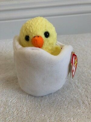 """Vintage 1998 Ty Beanie Baby """"EGGBERT"""" the CHICK in a EGG - NEW w/Tags Attached!"""