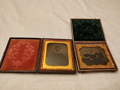 Daguerreotype Photo Lot of 2 Nice Cases and Photos