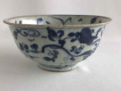 China Ming Dynasty Hongzhi 15th Century Blue White Bowl With Floral Motifs