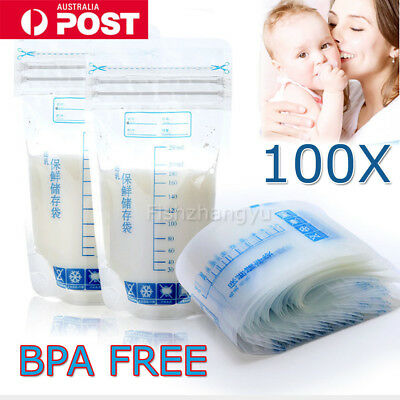 100X 250ml Pre-sterilised Baby Breast Milk Storage Freezing Bags Pouch BPA Free