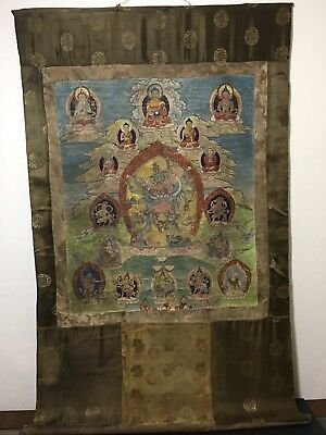 Antique Tibetan Silk Scroll Hand Painted Antique Chinese Paper Signed