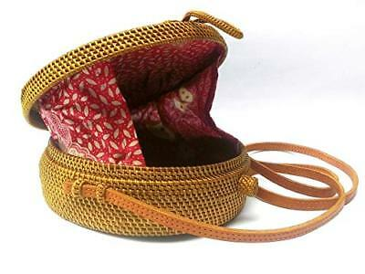 New Cheapest Deal Bali Harvest Round Woven Ata Rattan Bag Linen Inside Bow Clasp