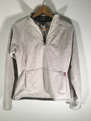 d8049881c THE NORTH FACE Womens Medium Fleece Pullover Sweater 1/4 Zip Fuzzy Pocket  White