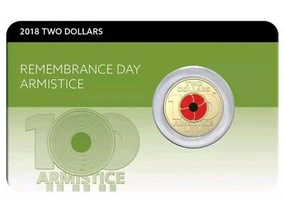 Australia 2018 $2 UNC Rememberence Day Coin - Armistice Centenary - Red Poppy
