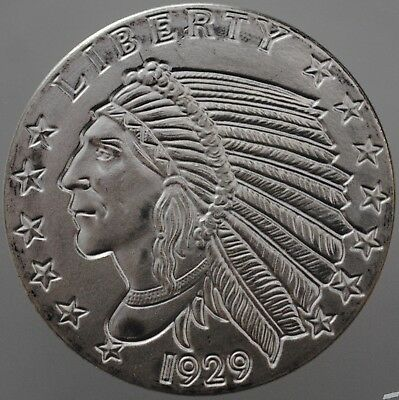 Incuse Indian 1 Oz .999 Silver UNC Commemorative Bullion Round.  USA  GSM Mint.