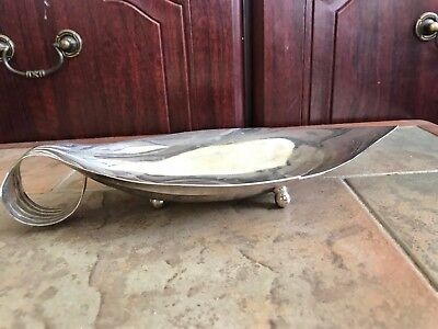 "Vintage Silver Plate On Copper  Footed ""Leaf"" Dish  - Falstaff 1960-70's"