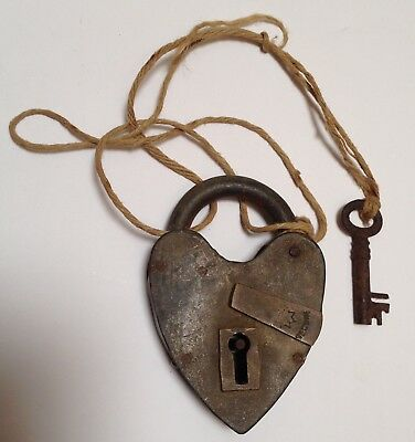 Vintage Antique Rare Heart Shaped Padlock with Key.