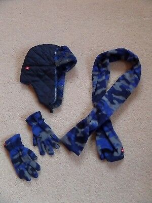 FABULOUS Boy's 3 Piece JOULES Hat, Scarf, Gloves Set Blue Camouflage WINTER MUST