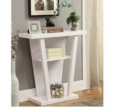 White Modern Console Table Furniture Accent Wood Entryway Sofa Hallway Shelves