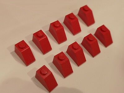 Lego Lot of 10 Red 45 Degree 2x1 Triple Slope Roof Brick 3048