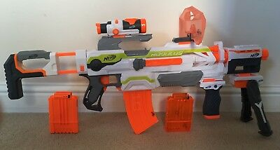 Nerf N-Strike Modulus ECS-10 USED VERY GOOD CONDITION +EXTRA ATTACHMENTS+BULLETS