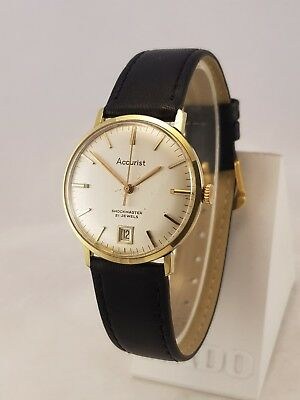 Gent's Vintage Swiss Accurist Shockmaster 21 Jewel Eta 2409 Gold Plated Date @6