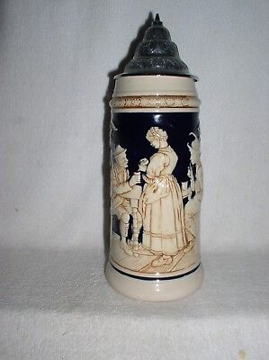 1L Pottery Stein Table Scene Houses And Chateau Wicke Werke Mint & Nice