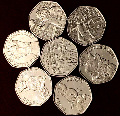 Full Set 2018 7x New 50p Coins: 4x Beatrix Potter, People Act+ 2x Paddington UNC