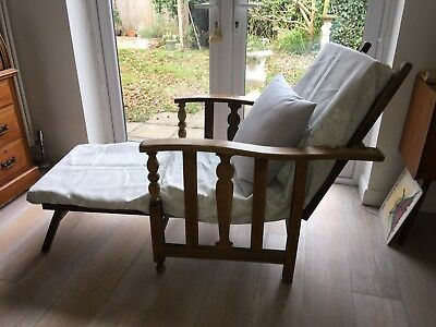 ANTIQUE OAK ARTS & CRAFTS RECLINING CHAIR VINTAGE EASY CHAIR Steamer Chair Bed