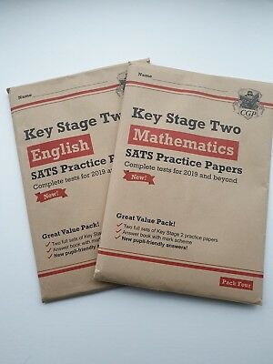 Brand New For 2019 Ks2 Maths & English Cgp Sats Practice Papers Bundle - Pack 4