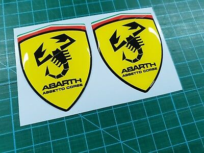 Fiat 500 / 595 / 695 Abarth Assetto Corse Badge wing Decals / Stickers 80mm tall