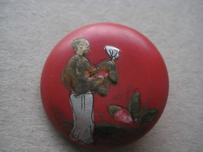 Antique Japanese Decorated Button 292BRADDEC18