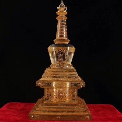 Chinese old Antique Buddhist natural crystal hand-carved pagoda relic tower