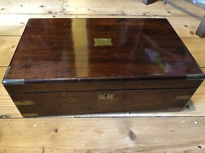Lovely Antique Georgian Brass Inlaid Writing Slope, 1830s