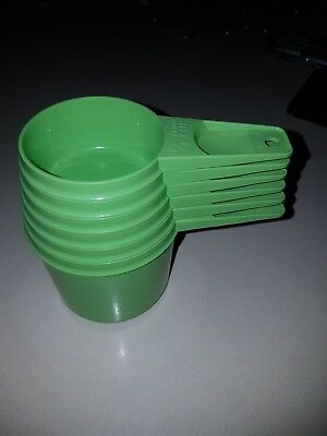 Vintage  Green Tupperware Measuring  Cups full set.