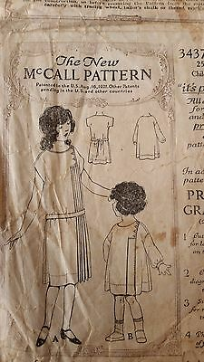 Antique Sewing Pattern- Child's Dress #3437- 1920's
