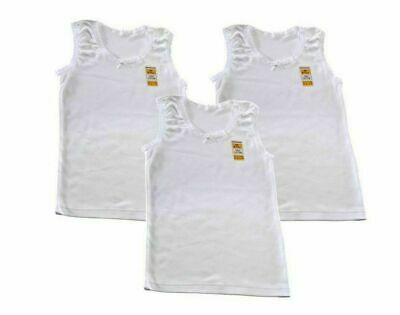 Pack of 3 Girls Vests 100% Soft White Cotton All Ages  2-13 Years FREE P&P