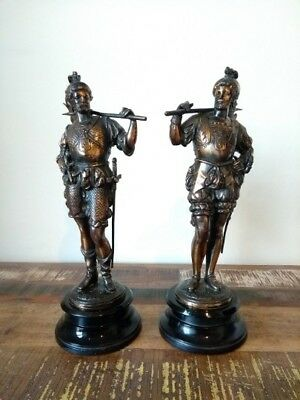 Bronze Spelter Figures of Spanish Conquistadors, ca. 1880s, 38cm tall