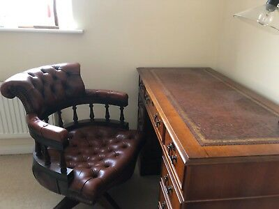 Captains  Chair  and  Matching  Pedestal  Desk , Brown Leather .