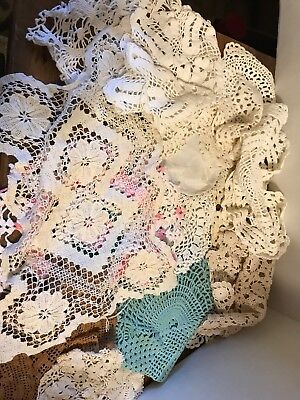 Vintage - Hand Crocheted Doilies Lot Of 16