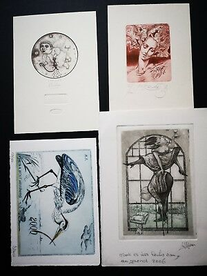 Four 4 p.f. new year cards. EXLIBRIS ARTISTS