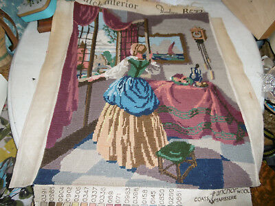 Needlepoint tapestry picture Dutch interior completed, very good condition
