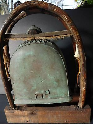 Large Antique Bronze Elephant Bell on Wood Holder Bamboo Fur