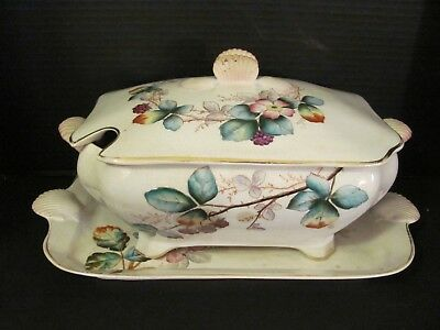 Antique Soup Tureen with Under Plate Wild Rose with Seashell Handles