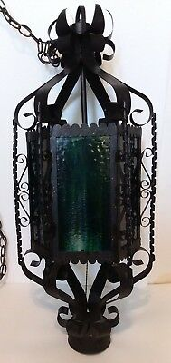 Vintage Wrought Iron Spanish Gothic Scroll Hanging Lamp 6 Panel Blue/green Glass