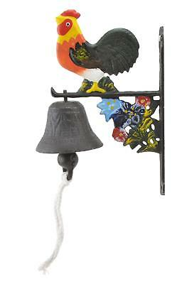 Cast Iron Dinner Bell Rooster & Flowers Colorful Doorbell Porch Deck Farm Barn N