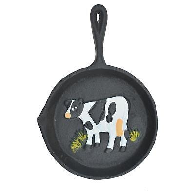 "Cast Iron Skillet Wall Hanging Holstein Dairy Cow Frying Pan Farm Decor 7.75"" L"