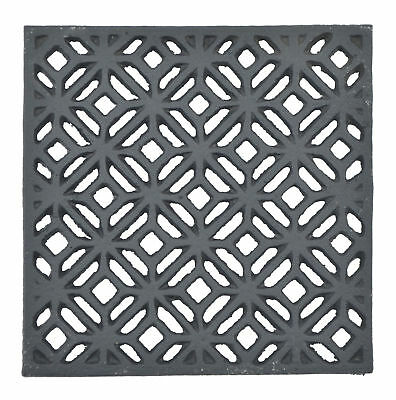 "Decorative Square Black Cast Iron Trivet Ornate Diamond Hot Pad Decor 5.25"" Wide"