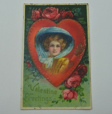 Vintage Paper Greeting Postcard Valentine Greetings Early 1900's Collectible Art