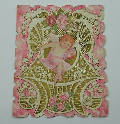 Vintage Paper Greeting Postcard Valentines Day Card Cupid Early 1900 Collectible
