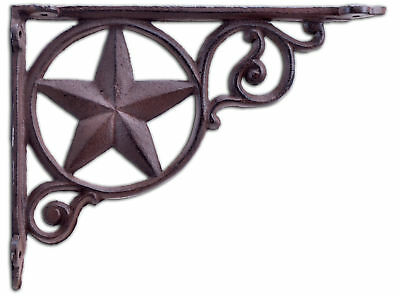 Western Decorative Wall Shelf Bracket Brown Cast Iron Rustic Star Brace 8.75""